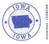 Grunge rubber stamp with the name and map of Iowa, vector illustration