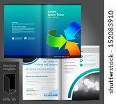 vector blue brochure template... | Shutterstock .eps vector #152083910