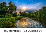 Sunset River Reflection Scenic...