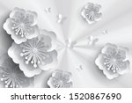 best 3d paper flowers background | Shutterstock . vector #1520867690
