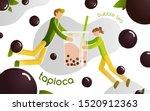 tapioca with bubble milk tea.... | Shutterstock .eps vector #1520912363