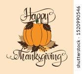 happy thanksgiving handvritten...   Shutterstock .eps vector #1520990546