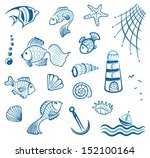 maritime  vector set  fish and... | Shutterstock .eps vector #152100164
