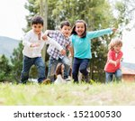 happy group of kids playing at... | Shutterstock . vector #152100530