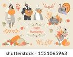 thanksgiving illustrations set... | Shutterstock .eps vector #1521065963