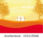 Crosses On A Hill At Sunset...