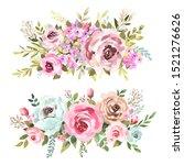 watercolor bouquets set....   Shutterstock . vector #1521276626