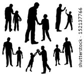 Set Silhouettes Of Man And Boy...