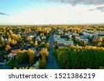 Aerial picture. Colorful autumn in Korso Vantaa, Finland