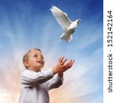 boy releasing a white dove into ... | Shutterstock . vector #152142164