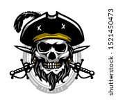pirate skull in vintage style.... | Shutterstock . vector #1521450473