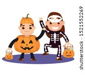little kids with costumes... | Shutterstock .eps vector #1521552269