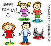 fun stick figure cartoon family ... | Shutterstock .eps vector #152159810