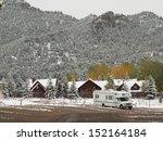 rv campsite in snow at estes... | Shutterstock . vector #152164184