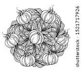 black and white autumn ornament.... | Shutterstock .eps vector #1521717926