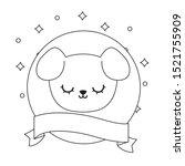 head cute dog in frame circular ... | Shutterstock .eps vector #1521755909