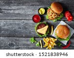three cheeseburgers with beef...