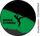 Silhouette Of A Rock Climber...
