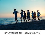 group of people running on the... | Shutterstock . vector #152193743