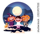 costumed children design ... | Shutterstock .eps vector #1521957533