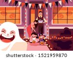 happy family with candies in... | Shutterstock .eps vector #1521959870