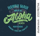 hawaii  aloha beach. vintage... | Shutterstock .eps vector #1521982766