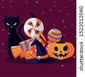 cat and pumpkin cartoon design  ... | Shutterstock .eps vector #1522012040