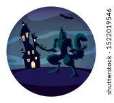 werewolf design  halloween... | Shutterstock .eps vector #1522019546