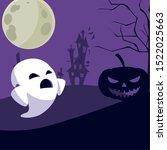 ghost cartoon design  halloween ... | Shutterstock .eps vector #1522025663