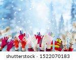 children hands with winter... | Shutterstock . vector #1522070183