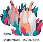 two male hajj pilgrim in mecca | Shutterstock .eps vector #1522075346