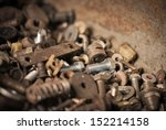 group of old rusty nuts and... | Shutterstock . vector #152214158