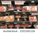 Small photo of Eindhoven, The Netherlands - 4 October 2019: recall prepacked meat, warning for listeria bacteria or listeriosis infection in grocery store. Products might be improperly processed. Offermans, serie