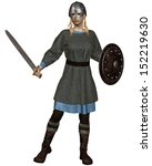 Stock photo viking or anglo saxon shield maiden with chain mail armour sword shield and helmet d digitally 152219630