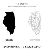 illinois map. blank vector map... | Shutterstock .eps vector #1522252340