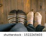 couple with woolen socks... | Shutterstock . vector #1522265603