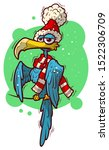 funny blue bird in christmas...   Shutterstock .eps vector #1522306709