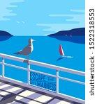 nautical poster concept. blue... | Shutterstock . vector #1522318553