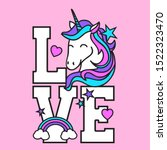 love unicorn  slogan print...   Shutterstock .eps vector #1522323470