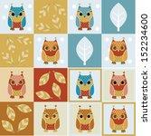 owls   four seamless... | Shutterstock .eps vector #152234600