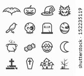 halloween icons with white...   Shutterstock .eps vector #152235119