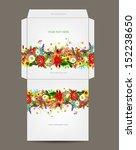 envelope template  floral design   Shutterstock .eps vector #152238650