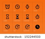 time and clock icons on orange... | Shutterstock . vector #152244533