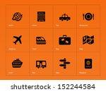 travel icons on orange... | Shutterstock . vector #152244584