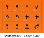 mapping pin icons on orange...