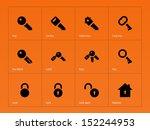 key icons on orange background. ... | Shutterstock . vector #152244953