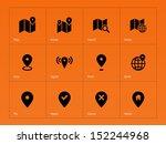 map icons on orange background. ...