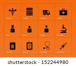 hospital icons on orange... | Shutterstock . vector #152244980