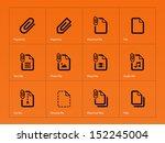 file clip icons on orange...