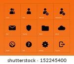 user account icons on orange...